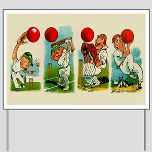 Cricket Players Yard Sign