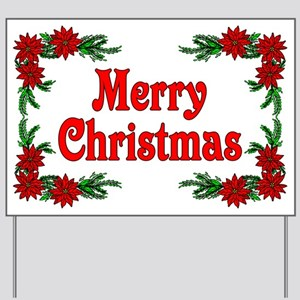 Poinsettia Merry Christmas Yard Sign