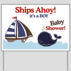 Ships Ahoy Whale & Sailboat Yard Sign