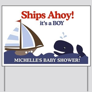 Ahoy Mate Whale Yard Sign - Michelle's Baby Shower