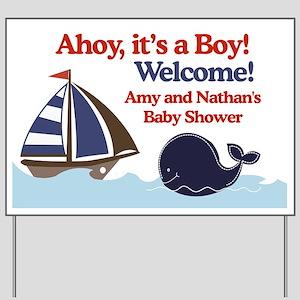 Amy and Nathan Ships Ahoy Baby Shower Sign Yard Si