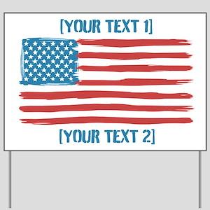 [Your Text] 'Handmade' US Flag Yard Sign