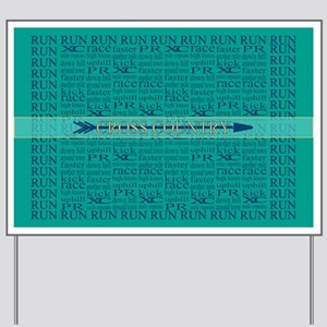 Cross Country Running Collage Blue Yard Sign