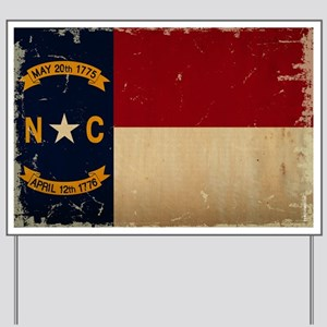 North Carolina State Flag VINTAGE Yard Sign