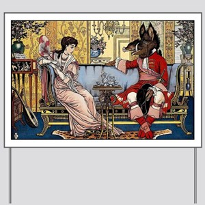Beauty and The Beast having Tea by Walte Yard Sign