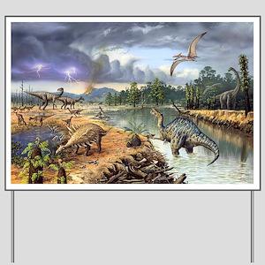 Early Cretaceous life, artwork Yard Sign