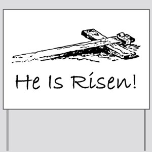 easter he has risen cross Yard Sign