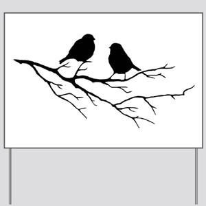 Two Little white Sparrow Birds Black silhouette Ya