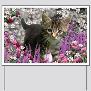 Emma Tabby Kitten in Flowers I Yard Sign