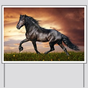 Beautiful Black Horse Yard Sign