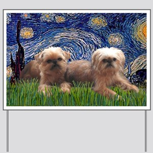LIC-Starry Night - Two Brussels Griffon Yard Sign