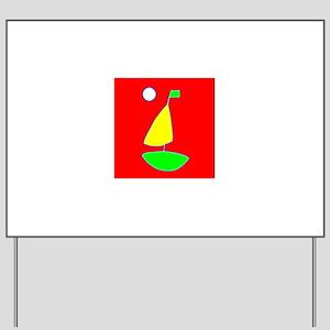 Red Sailing under the Moon Sailboat 4Cra Yard Sign