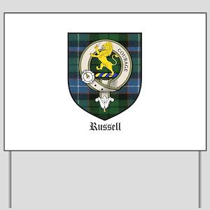 Russell Clan Crest Tartan Yard Sign