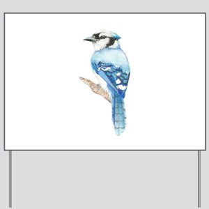 Watercolor Blue Jay Bird Nature Art Yard Sign