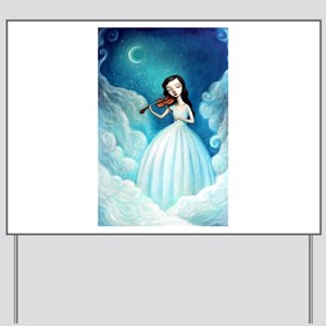 Girl with Moon and Violin Yard Sign