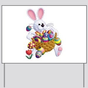Easter Bunny with Basket of Eggs Yard Sign