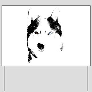 Husky Bi-Eye Husky Dog Yard Sign