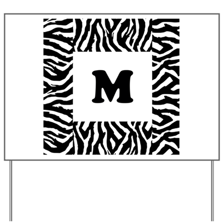 Zebra Print. Custom Letter. Yard Sign