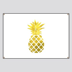 Faux Gold Foil Pineapple Banner