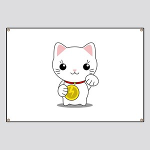 Maneki Neko - White Lucky Cat Banner