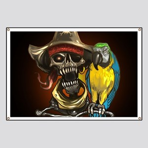 J Rowe Pirate and Parrot Black Background Banner