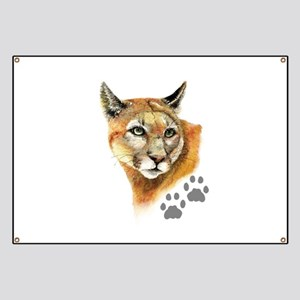 Watercolor Mountain Lion, Puma, Footprints Animal