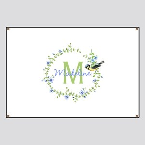 Bird Floral Wreath Monogram Banner