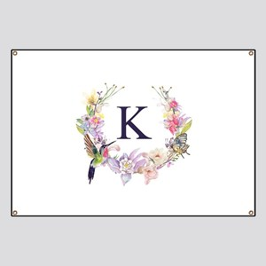 Hummingbird Floral Wreath Monogram Banner