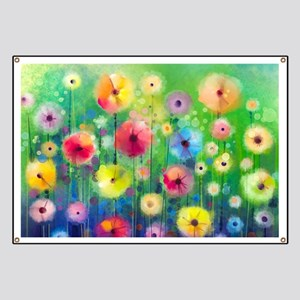 Watercolor Flowers Banner
