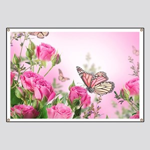 Butterfly Flowers Banner