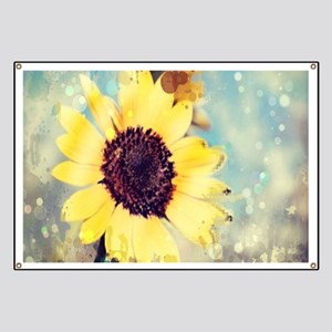 romantic summer watercolor sunflower Banner