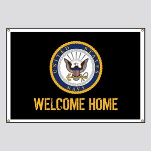 U.S. Navy: Welcome Home (Black & Gold) Banner