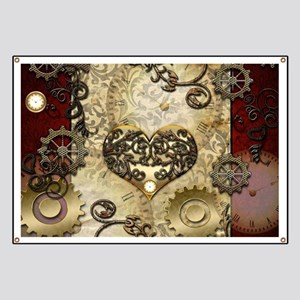 Steampunk, awesome heart with floral elements Bann