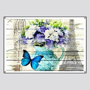 blue floral paris eiffel tower Banner
