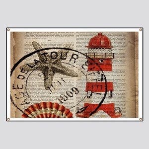 vintage lighthouse sea shells Banner