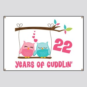 22nd Anniversary Owl Couple Banner