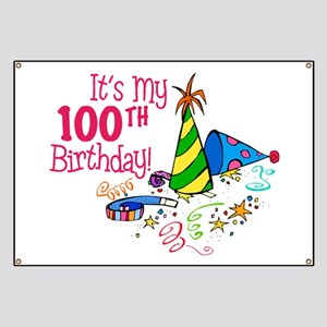 It's My 100th Birthday (Party Hats) Banner