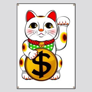 Dollar Lucky Cat Maneki Neko Banner
