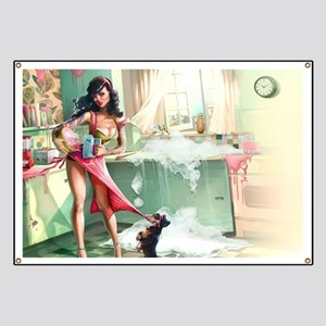Pin up Girl In Kitchen Banner