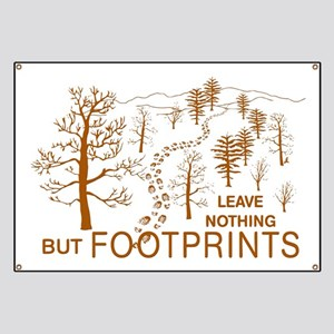 Leave Nothing but Footprints Brown Banner