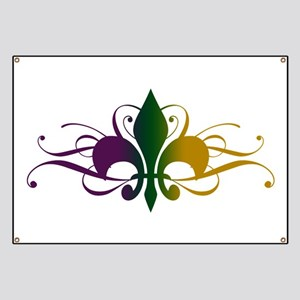Purple Green Yellow Swirl Fleur De Lis Banner