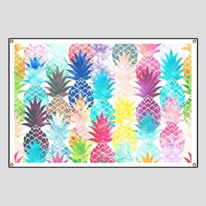 Hawaiian Pineapple Pattern Tropical Waterco Banner