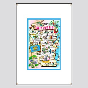 Wisconsin Map Greetings Banner