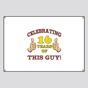Funny 16th Birthday For Boys Banner