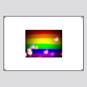Hearts gay rainbow art Banner