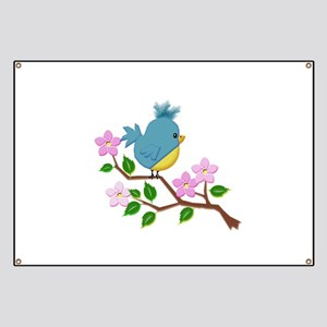 Bird on Tree Limb with Spring Flowers Banner