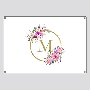 Floral and Gold Monogram Banner