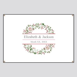 Floral Wreath Wedding Monogram Banner