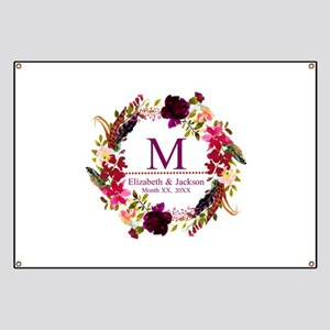 Boho Wreath Wedding Monogram Banner