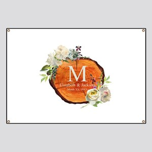 Floral Wood Wedding Monogram Banner